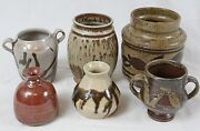 Vintage Studio Art Pottery Collection Lot (6) Red Bud Vase Mid Century Trophy