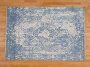 6and0391and039and039x9and039 Denim Blue Wool And Silk Handknotted Broken Persian Design Rug G38223