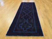 3'1''x10' Hand Knotted Vintage Overdyed Persian Hamadan Runner Rug G38690