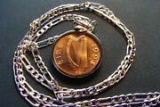 1998 Irish Mint Condition Penny Coin Pendant On 28 925 Sterling Silver Chain