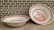 Furnivals England Quail Brown Pattern Cereal/soup Bowls 6.5 Inchandrsquo - Set Of 2