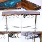 Deco Wine Table With Forged Base, Bottle And Glass Holders And Bottle Opener