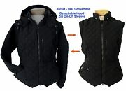 Riding Jacket With Removable Sleeves And Hood. Turns Into Vest