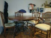 Discontinued Rare 5 Piece Ethan Allen Large Brittany Dining Table With Chairs