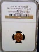 1909 Wa Hk-360 Alaska Gold Hartand039s Coins Of The West Sc 1 Ngc Ms 63