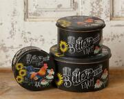 New Primitive Life Is Better On Farm Rooster Tins Set 3 Metal Stacking Boxes