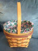 Longaberger 1996 Easter Basket With Liner, Plastic Insert, Papers - Mint