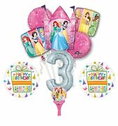 New 9pc Disney Princess 3rd Birthday Party Balloons Decorations Supplies