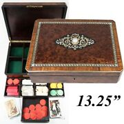 Antique French Game Or Cards And Gaming Chips Set, Napoleon Iii Boulle Box, 13.5