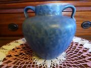 """Rumrill blue mottled vase with handles 8"""" x 8"""" nice cond."""