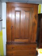 Antique Pine Two Part Step Back Cupboard Primitive Farm House Cabinet W/ Drawers