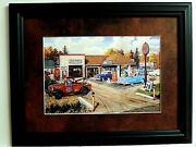 Old Cars Old Trucks Picture Full Service Gulf Station Matted Framed 12x16