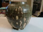 Studio Art Pottery Flubbed Glaze, Forest Green Earth Vase, Bowl, Jar very Neat