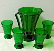 Hazel Atlas Repo Green Florentine Depression Glass Footed Pitcher And 4 Tumblers