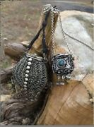 Set Of 2 Vintage Mid-cen Tibet Snuff Bottle Tribal Gypsy Style 1900's Necklaces