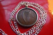 2rare 1928 Irish Antique Lucky Penny Pendant On A 20 925 Sterling Silver Chain