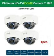 4 Lots Hd-tvi Dome Camera 2.1mp, 2.8mm Fixed Lens, Smart-ir Cctv Security As04