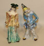 Marcello Fantoni Italy Mcm Pottery Sculptures Carnival Mask Couple Man And Woman