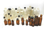 40+ Pc Lot Antique Brown+clear Apothecary Bottles Cork Twist Cap Mixed Sizes