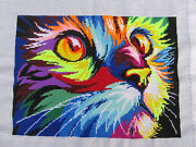 Cross Stitch Embroidery Rainbow Cat Unframed Ready-to-frame