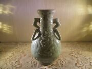 Beautiful Pottery Dolphin Handled Celadon Vase Or Lamp Base Super Clean