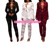 Women Lace Floral See Thu Two Piece Elegant Party Jumpsuit Rompers Club Wear(a