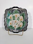 Unique Handmade Pottery Beautiful Hand Painted Lily Pattern Plate
