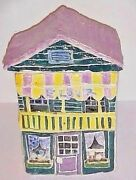 MID CENTURY FOLK ART HAND MADE - PAINTED POTTERY FLOUR CANISTER  EARLY 1970'S