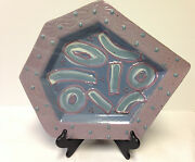Mid Century Modern Abstract Art Pottery Platter Tray Wall Hanging Artist Signed
