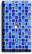Blue Mosaic Arabic Tiles Look Light Dimmer Cable Plate Cover Kitchen Home Decor