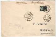 Registered Letter W. Inverted Ovp Mi 185y Fm Kaunas Lithuania To Germany 1922
