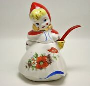 Hull Ware Little Red Riding Hood Covered Mustard Jar Gold Trim Poppy Flowers