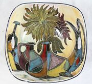 Marbro Italian Pottery Bowl Colorful Mid Century Modern Abstract Painted Vases