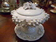 VINTAGE MAJOLICA ITALIAN COMPOTE,+PLATE SIGNED ITALY