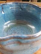 Hand Spun~Pottery~Small Bowl~Ruffled Edge~Blue~Signed Libbey