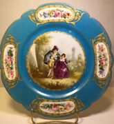 "FRENCH SEVRES Plate Louise Phillip, signed ""Colet"", Louise Chateau Tulleries 9.5"