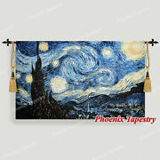 Large Van Gogh Starry Night Fine Art Tapestry Wall Hanging, 55x34, Us