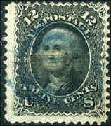 1868 Us Stamp 85e 12c Used Z Grill Blue Cancel Catalogue Value 2400 Certified