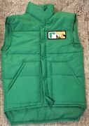 Vtg 70s Farmers Green Puff Puffer Vest Small Nylon Feed And Seed Patch Dairy Cow