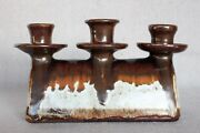 Vintage Mid Century Modern Cliff Stewart 1979 Studio Pottery Candle Holder 8.5""
