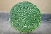 Green Majolica Vintage Cherries, Blossom and Leaf Plate Portugal