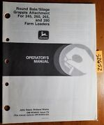 John Deere Round Bale Silage Grapple Attachment 245 260 265 280 Loader Manual 89
