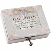 Daughter Live Life Imagined Distressed Wood Locket Jewelry Music Box