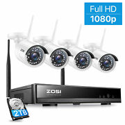 Zosi 1080p Wireless Security Camera System 8 Ch Wifi Nvr 2tb Outdoor Ir Home Kit