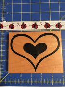 1996 Psx K-1869 Wooden Rubber Stamp Double Heart Valentines Day Ladybug Stamps