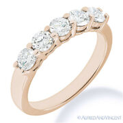Forever One D-e-f Round Cut Moissanite 14k Rose Gold 5-stone Band Wedding Ring