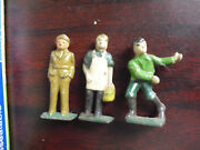 Lot Of 3 Vintage Metal O Scale Railroad Freight Station Figures 2 Tall