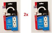 2x Power Bar Extension 3 Outlet Electrical Wall Plug Socket Grounded Strip Cord