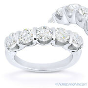Round Cut Forever One D-e-f Moissanite 14k White Gold 5-stone Band Wedding Ring