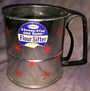 Sff Vintage Androck Flour Sifter Mid Century Stainless Red Starburst Rare